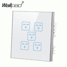 Высококачественный 5 банд 1 способ водонепроницаемый белый DIY сенсорный светильник настенный переключатель Настройка светодиодный умный сенсорный экран переключатель