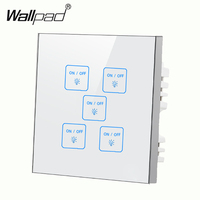 High End 5 gangs 1 way Waterproof White DIY touch light wall switch Free Customize LED Smart Touch Screen switch