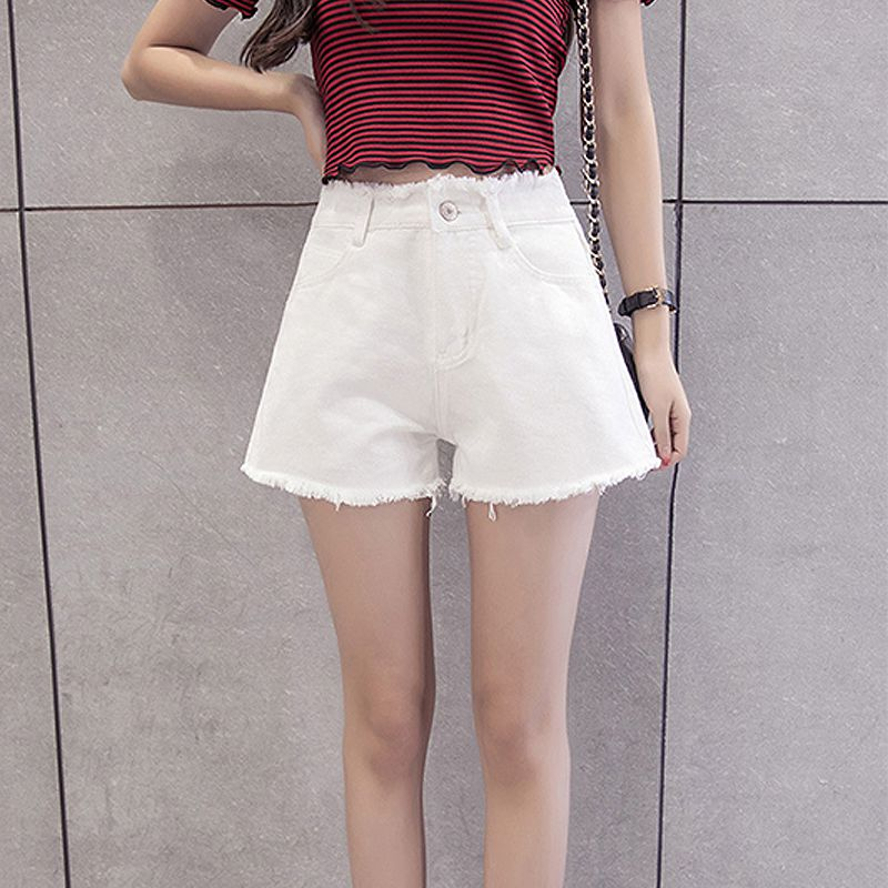 Women Summer Fashion Black Ripped Jeans   Shorts   Plus Size White Black Denim   Shorts   High Waist Solid Cozy Tassel Femme   Shorts   3XL