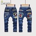 Crianças Primavera Roupas de Outono Jeans Reta Calças Padrão SpiderMan Dos Desenhos Animados Meninas/Meninos Vestuário Casual Crianças Calças Jeans