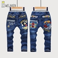 Kids Clothing Spring Autumn Denim Straight Pants Cartoon Pattern SpiderMan Girls/Boys Apparel Casual Children Jeans Trousers