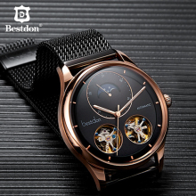Bestdon Mens Watch Automatic Mechanical Tourbillon Skeleton Fashion Watches Man Switzerland Luxury Brand Relogio Masculino 7140