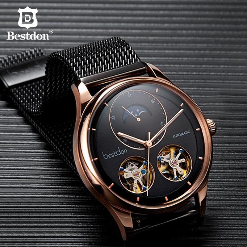 Bestdon Relógios Mecânicos de Esqueleto Para Os Homens Automáticos Moda Luminosa Relógio Marca Suíça de Luxo Masculino fase Da Lua À Prova D' Água