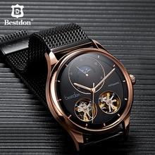Bestdon ساعة رجالي التلقائي الميكانيكية توربيون الهيكل العظمي موضة الساعات رجل سويسرا العلامة التجارية الفاخرة Relogio Masculino 7140