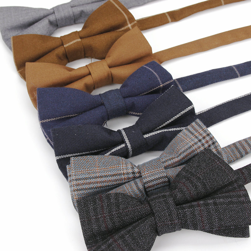 KR549 Vintage Adjustable Mens Cotton Bow Ties Man Bows Tie Plaids Solid Tuxedo Party Wedding Butterfly Drop Shipping Necktie