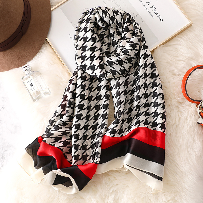 Houndstooth new print silk   Scarf   women Spring Summer Plus Size Female shawl women long head   Scarves     Wraps   High quality pashmina