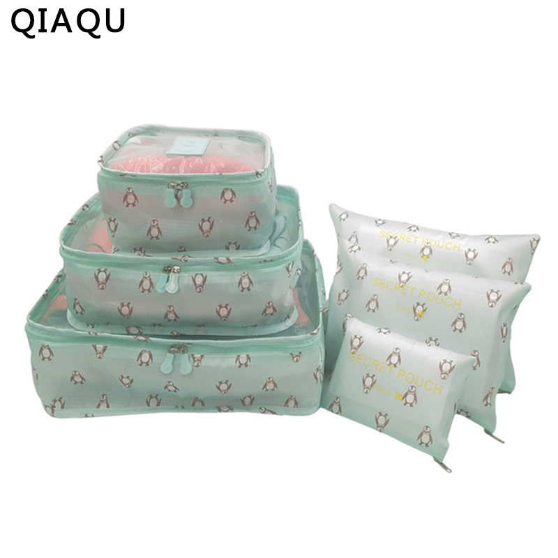 QIAQU 6 pcs / set Travel Organizer Storage Bag Portable Luggage Organizer Clothes Suitcase Bag Travel accessories цена 2017