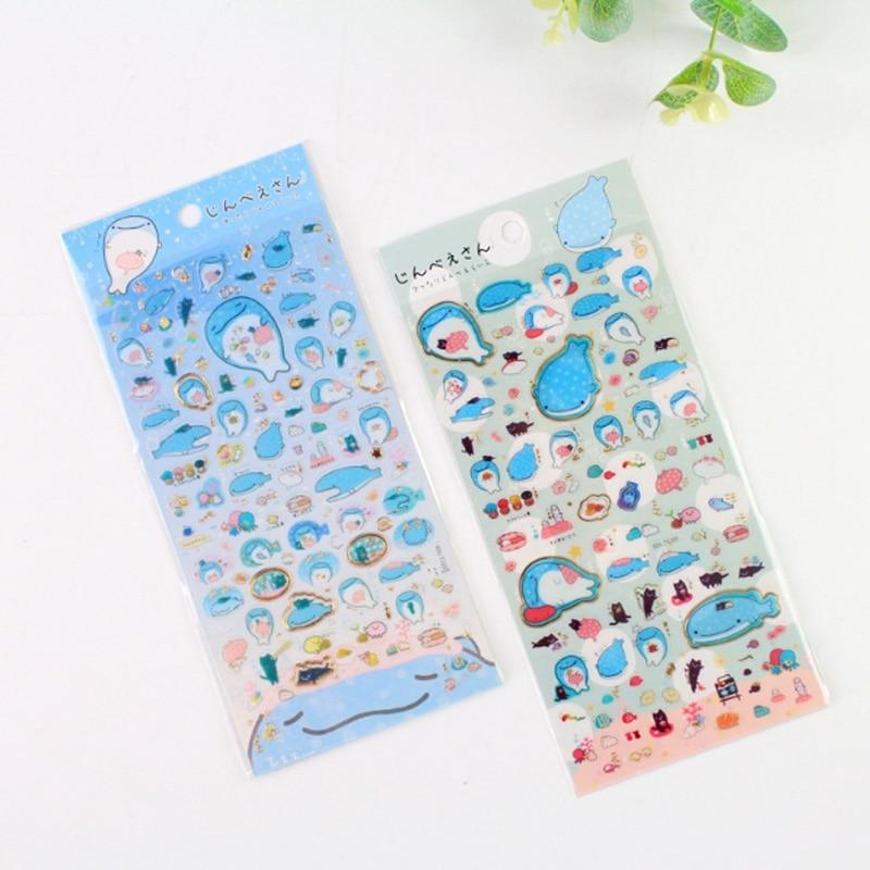 1X Cute Creative Blue whale sticker child diy toy Photo album Deco sticker scrapbooking seal sticker kawaii stationery in Stationery Stickers from Office School Supplies