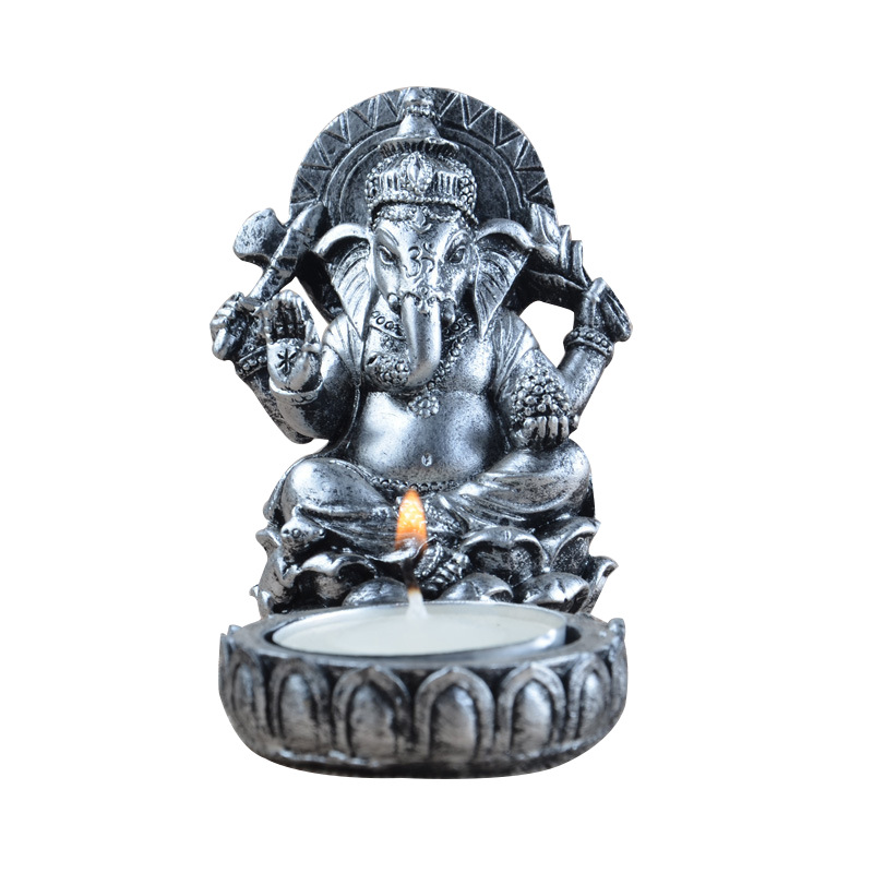 Ganesha Statue Candle Holder India Thailand Elephant God Resin Figurine Sculpture Home Office Bar Desk Decoration Ornament Gift