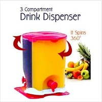 1PIECE DRINK DISPENSER 3 COMPARTMENT ROTATING JUICE DISPENSER NEW KILNER BARREL DRINKS DISPENSER WATER SOFT JUICE