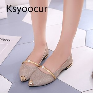 Image 2 - Brand Ksyoocur 2020 Spring New Ladies Flat Shoes Casual Women Shoes Comfortable Pointed Toe Flat Shoes 18 012