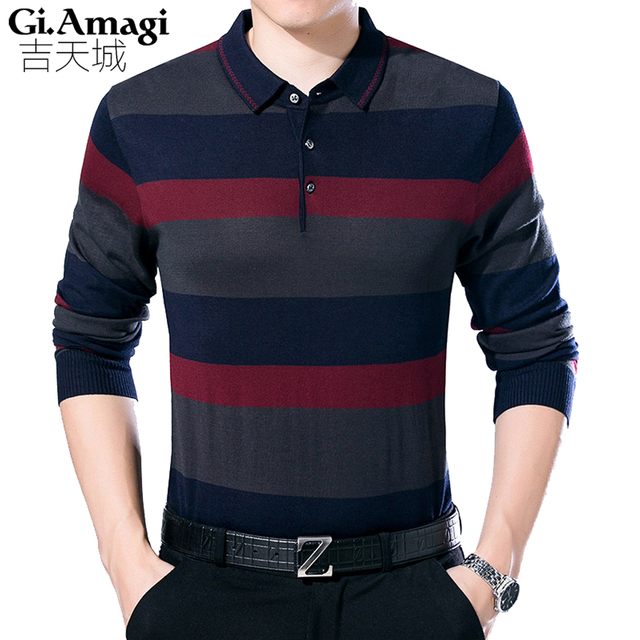 Pullover Sweaters Men 2017 Autumn New Middle-aged Men s Sweater Long-sleeved  Lapel Neck 18b24dbb84
