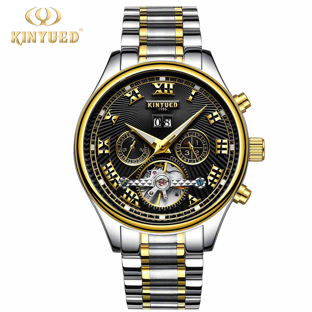KINYUED Mens Watches Top Brand Luxury Automatic Mechanical Watch Men Stainless Steel Sapphire Calendar Relogio Masculino 2018 burei mens watches top brand luxury men watch automatic mechanical stainless steel men gold wrist watch relogio masculino