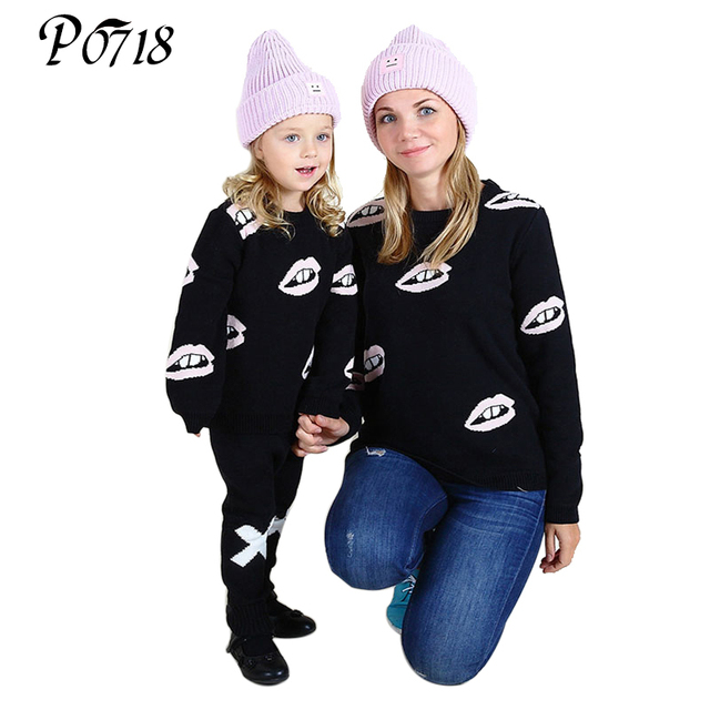 2018 New Autumn Winter Family Matching Clothes Girls Boys Mom Warm Sweaters Cotton Mother Daughter Son Cardigan Clothing Outfits