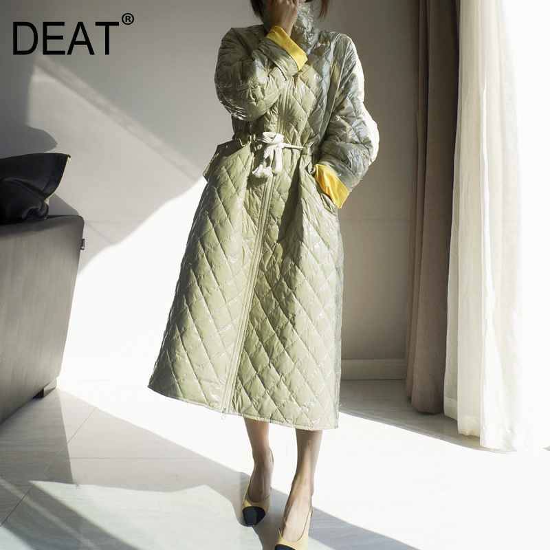 [DEAT] 2019 New Autumn Winter Stand Neck Long Sleeve Mixed Colors Draw String Long Feather Jacket Women Coat Fashion Tide 10D369
