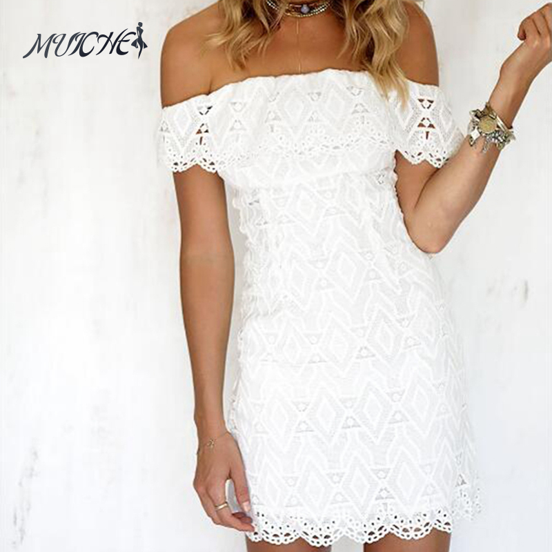 Women white a line lace sexy dress women soild off the for Wedding party dresses for women
