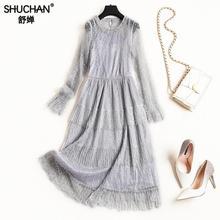 f11c007a96 Shuchan Doce Womens Dresses New Arrival 2019 A Linha de Mid-calf Mais Novo  Das