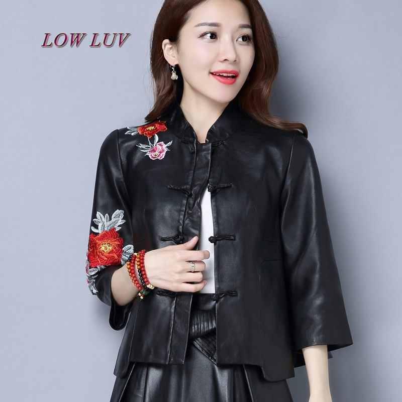 2017 spring new ladies senior leather jacket plus large retro embroidery baseball jacket PU leather motorcycle jacket / retro