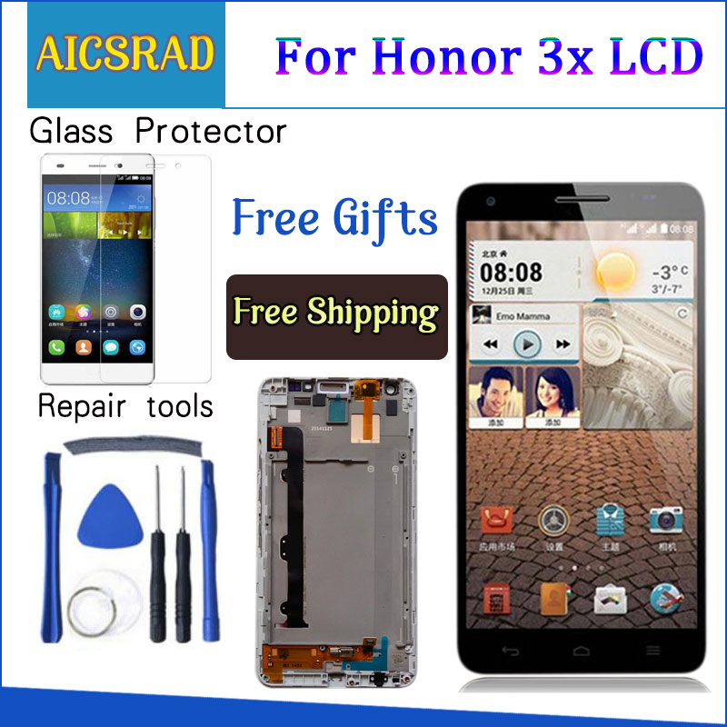 Q&Y QYJOY Free shipping For Huawei Honor 3X G750 LCD Display Touch Screen Digitizer Assembly with free tools