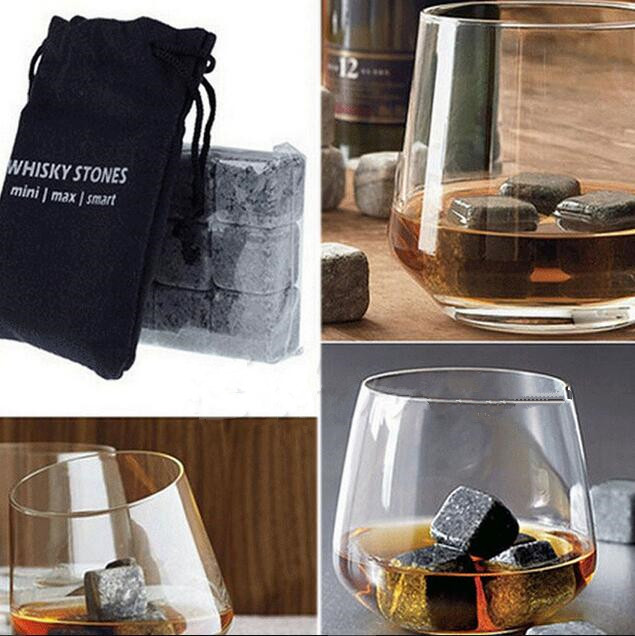 Gift Set Of 6 Diamond Shaped and Polished Stones Made of Natural Basalt Stone Keep Your Drink Ice Cold Without Dilution Whiskey Rocks Engraved Wood Box with Velvet Bag For Refrigeration