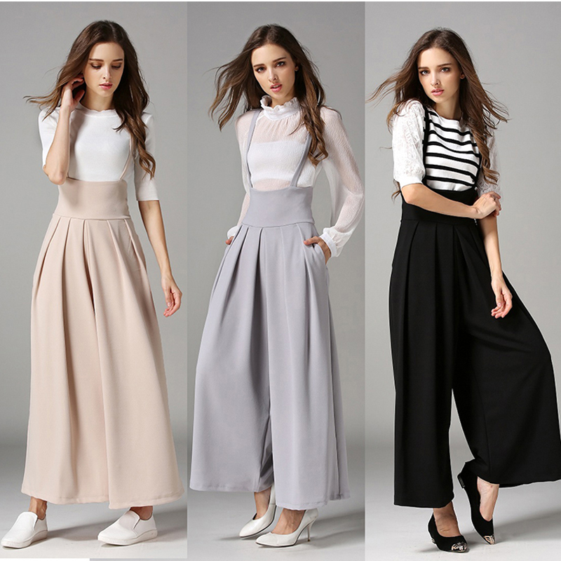 New Fashion  Jumpsuits Ladies Loose Slim Casual Party Overalls Women Sleeveless Solid  Rompers  Wide Leg Ankel Length Pants