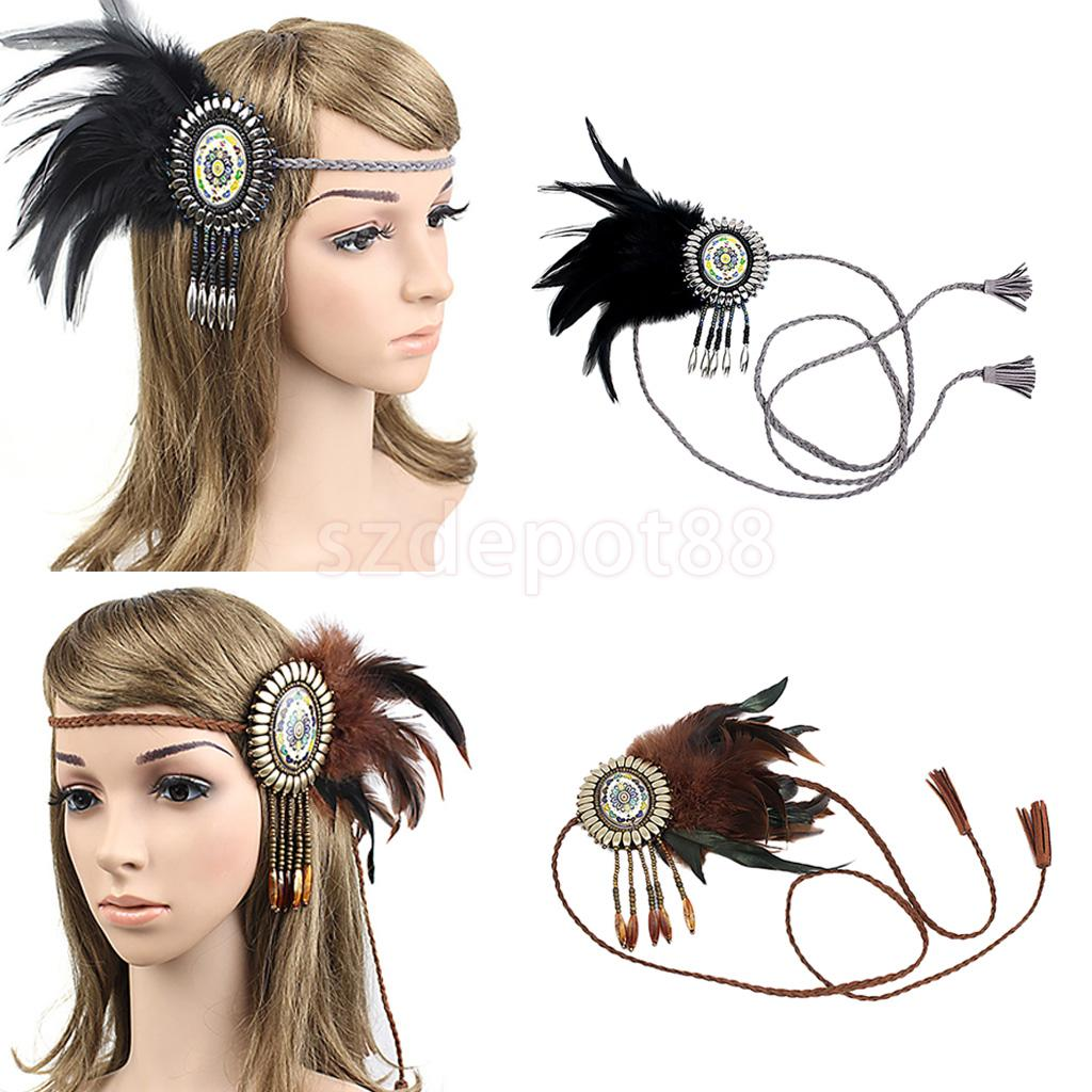 Vintage Boho Hippy Indian Feather Fascinator Headband Braided Rope Headpieces Wedding Party Hair Accessories