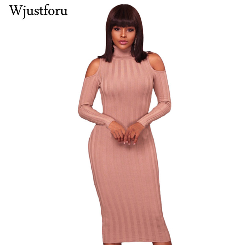 Wjustforu 2017 Winter Warm Sweater Dress Women Ribbed Knitted Dress Cold Shoulder Long Sleeve Bodycon Midi Dresses drop shoulder scalloped ribbed sweater