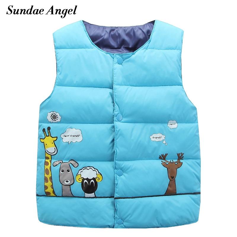 Sundae Angel Girl västjacka Ärmlös jacka för barn Baby pojkar västmönster Bomullstecknad Barn Ytterkläder Kläder