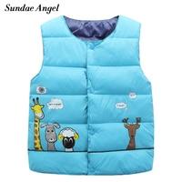 Sundae Angel Girl Vest Jacket Sleeveless Coat For Kids Baby Boys Waistcoat Pattern Cotton Cartoon Children