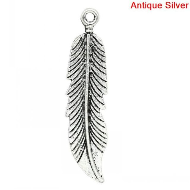 DoreenBeads Retail Charm Pendants Feather Antique Silver 4.5x1.1cm,30PCs