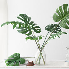 Artificial Plants 5 10 pcs Large Artificial Fake Monstera Palm Tree Leaves Green Plastic Leaf for Wedding DIY Table Decoration(China)