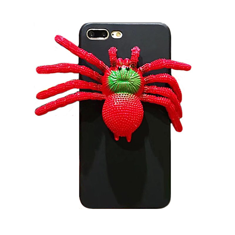 2017 Fashion halloween cartoon animals monsters joy doll relax venting toy sock pinch spoof venom big spider tpu case For Iphone