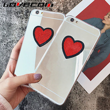 LOVECOM New For J3 J5 J7 (2017) J330 J530 J730 Eurasian Version DIY Cute Stitches Red Love Heart Soft TPU Mirror Phone Cases