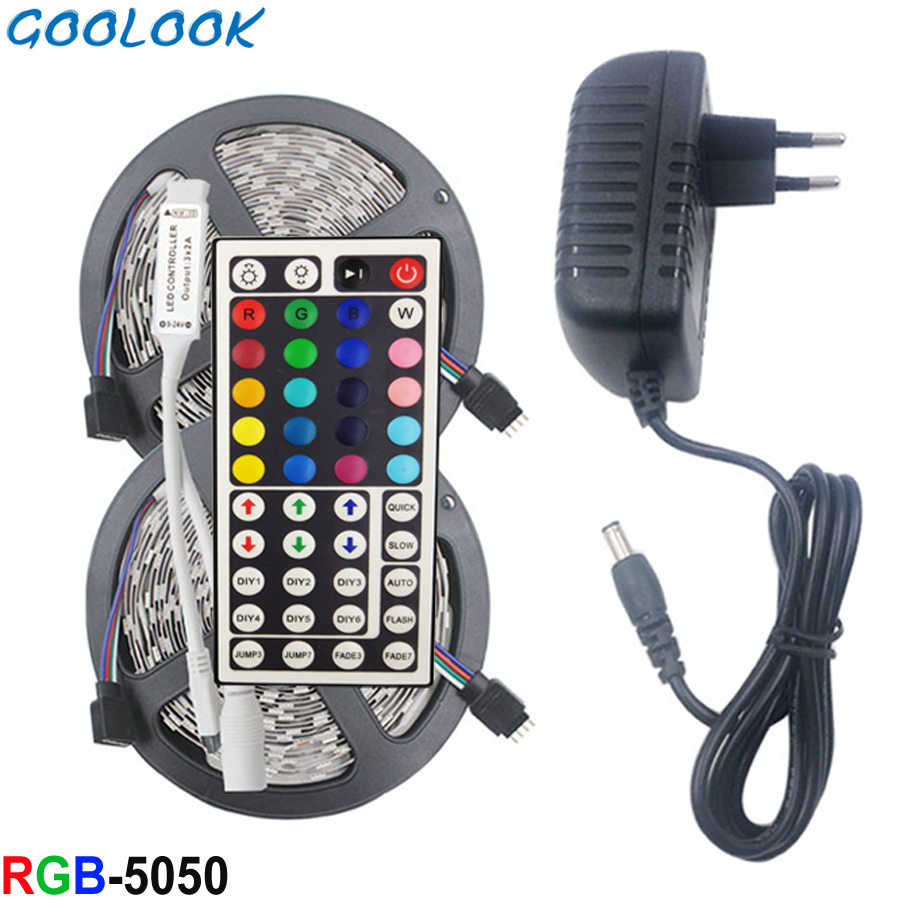 LED Strip Light RGB SMD 5050 2835 LED Tape 5M Waterproof LED Flexible Strip Diode Lighting Ribbon Controller DC 12V Adapter Set