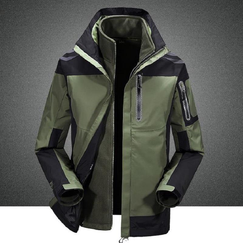 Men New Winter Thermal Warm 3 in 1 Jacket Trekking Camping Climbing Skiing Hiking Fishing Outdoor Coat Waterproof Plus Size 4XL