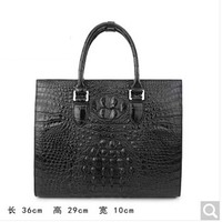 weitasi Crocodile men's handbags fashion bag large capacity briefcase male business and leisure travelers black alligator skin