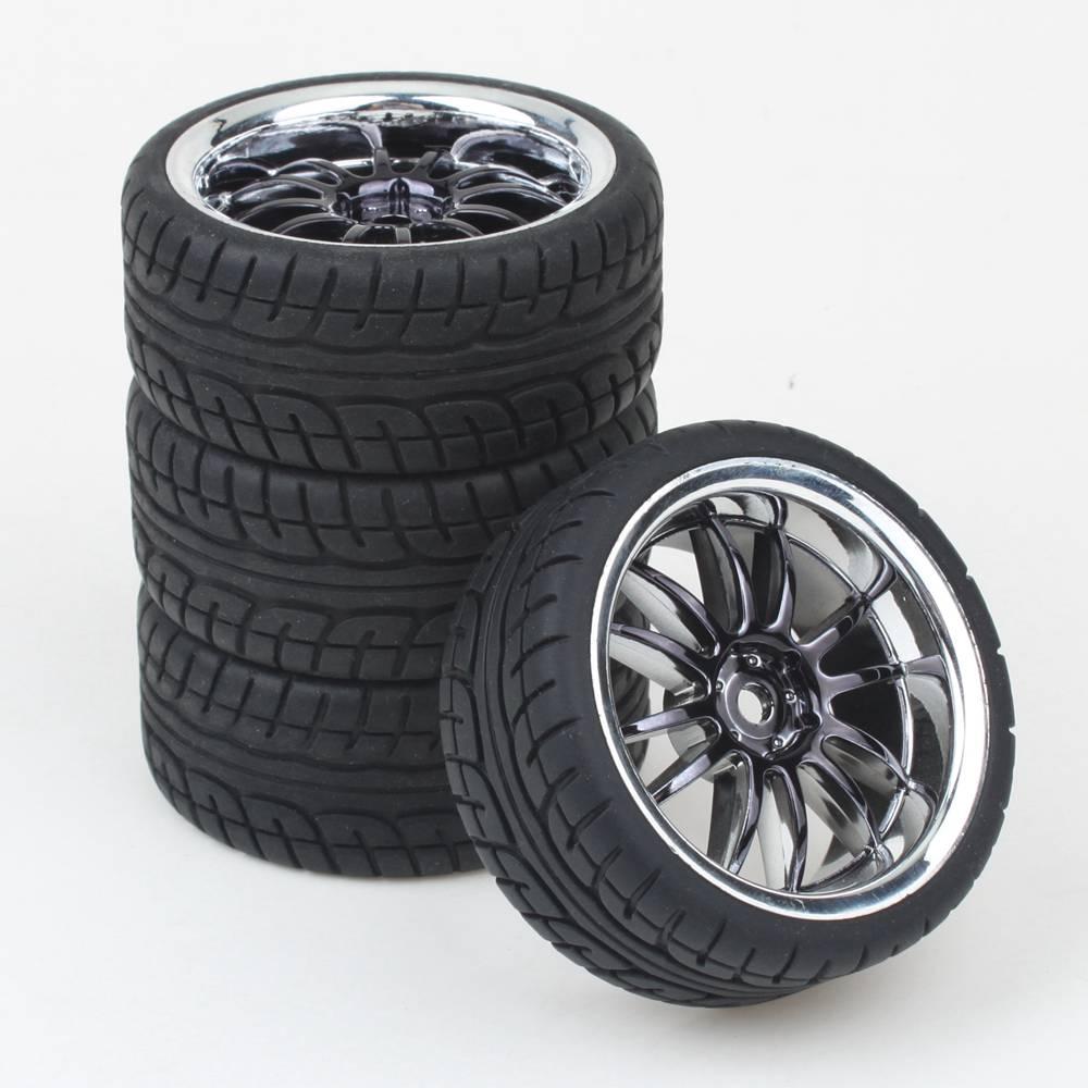 4pcs Rc 1 10 Car On Road Wheel Rim Rubber Tyre Tires Fit