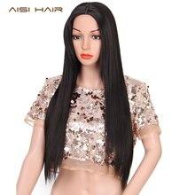AISI HAIR 28 дюймів Чорні довгі прямі синтетичні парики для жінок Чорні волосся можуть бути Cosply волосся з теплостійким волокном