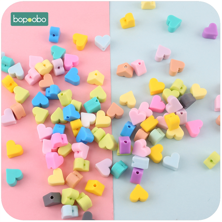 Bopoobo Silicone Beads Heart-shaped 10pc 14mm Food Grade Teether Diy Jewelry Sensory Toys Necklace Or Bracelet Baby Teether