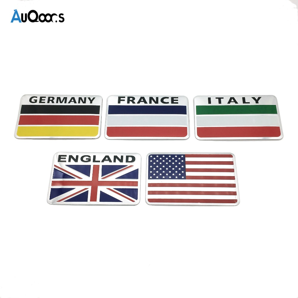 3d aluminum united states france germany england italy flag car sticker accessories stickers for chevrolet for