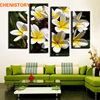 Unframed 4 Panel Yellow With White Egg Flower Wall Art Picture Modern Home Wall Decor HD