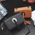 Hot 2017 Spring New Vintage Tassel Women Small Bags Chain Lady Messenger Bag Fashion Simple Quality PU Leather Bag For Female
