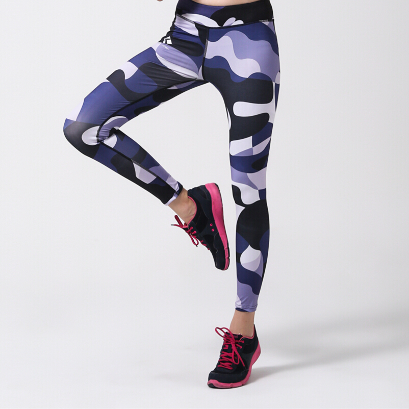 Camouflage Women Yoga Sports Pants Dry Quick High Elastic Compression Pants Sports Fitness Running Trousers Slim Leggings