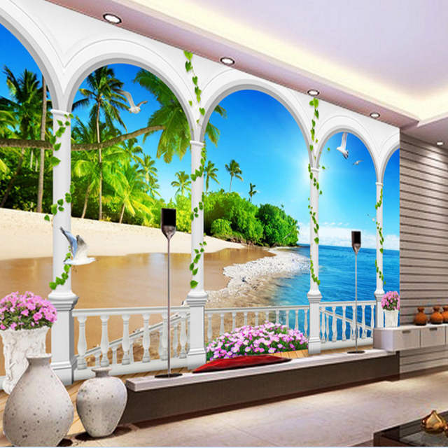 Murales 3d Per Interni.Sfondi Youman Stom 3d Stereoscopico Foto Carta Da Parati Moda Moderna Murale Per Interni Maldive Spiaggia Carta Da Parati Paesaggio