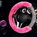 Personalizada Diamante de Lana Volantes Cubiertas Glitter Rhinestone Invierno Mujeres De Moda Universal Fit Auto Accesorios