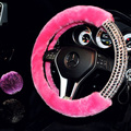 Rodas de Direcção Do Carro Lã de Diamante personalizado Covers Glitter Rhinestone Mulheres Moda Inverno Ajuste Universal Auto Acessórios