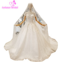 2018 Short Sleeves Natural White Lace High Neck Cathedral Train Lace Up Ball Gown Backless Wedding Dresses With Long Veil Real