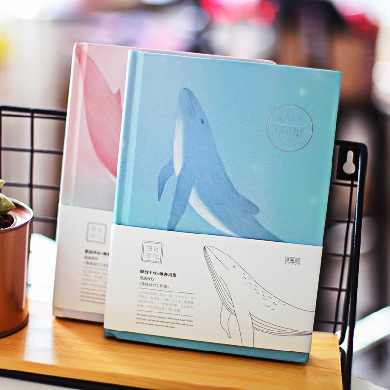 Travel Alone v.2 Hard Cover Journal Cute Whale Notebook Beautiful Diary Study Notepad