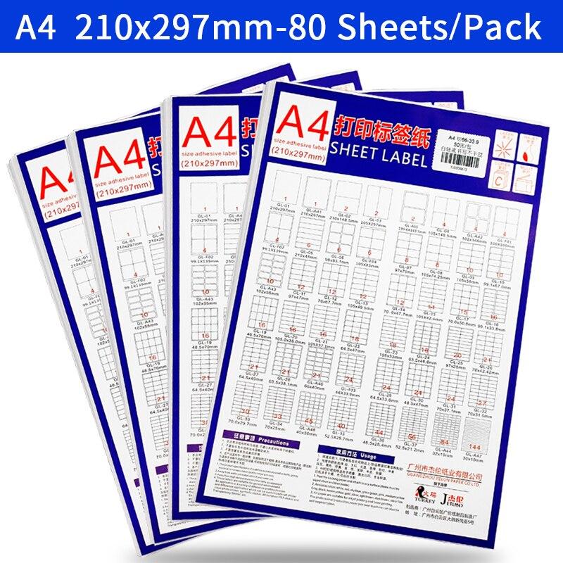 Купить с кэшбэком A4 Sticker Paper Label Sheets  for inkjet / Laser Printer /Copier, Matt/Gloss kraft Surface, 80 Sheets Per Pack