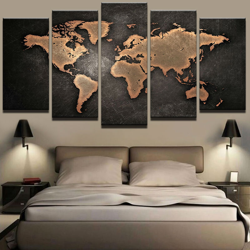 Gemälde HD Abstrakt Leinwand Kunst Malerei Für Wohnzimmer Wand Dekor 5  Stücke Retro Weltkarte Dekoration Bild Modulare Gerahmte